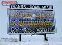 Rotating Tri-paneled Billboard Covered With Snow